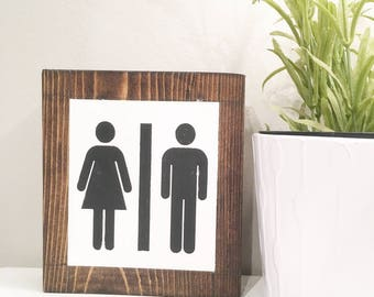 Restroom sign, self-standing