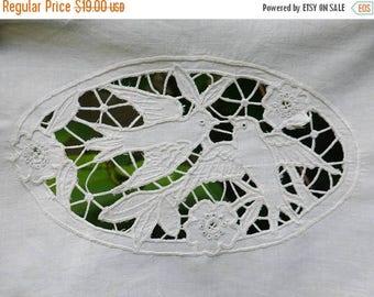 SALE 25% Vintage Lace Petch Antique Hand Embroidered Lace Two Birds Lace Handmade lace Applique Patch Needle Lace