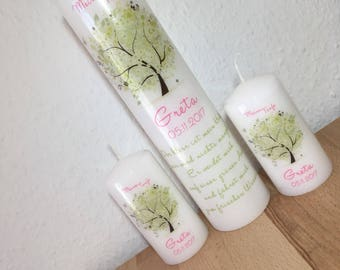 """3 set christening """"Tree of life"""" in green-pink"""