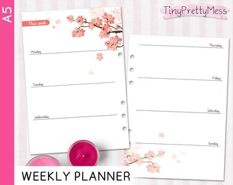 Printable A5 Weekly Planner Week on 2 pages Perpetual Undated Inserts Filofax Personal, Kikki K Medium - PDF - Cherry Blossom Designn Peach