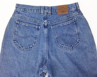 Vintage Jeans 31, High Waisted Jeans, 80s Jeans,  Mom Jeans, 80s Lee Jeans, Relaxed Jeans, Angled Pockets, Cotton, Made In USA, SIZE 31 x 31
