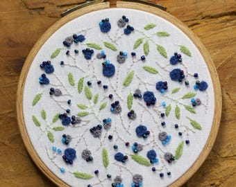 Embroidery - Blue flower