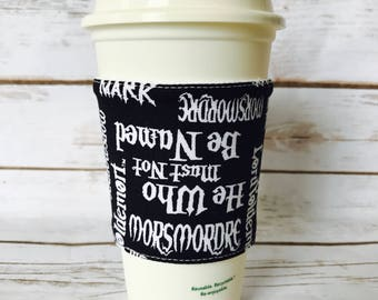Coffee Cup Cozy, Reusable Coffee Sleeve, Harry Potter Tea Cup Cozy, Personalized Gift, Custom Cup Sleeve, Eco Friendly Item,