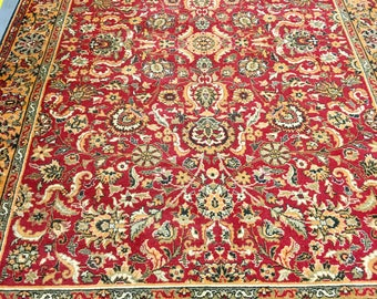 Fabulous carpet rug 100% wool oriental pattern red orange and gray color warm vintage rug old big rug retro perfect for home and restaurant.