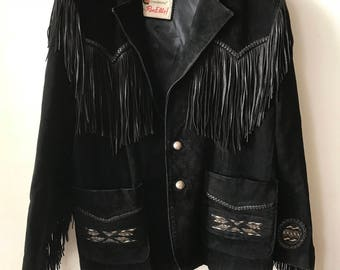 Western Mid Length Vintage Black Soft Genuine Suede Jacket Fringed Men's Size Large.