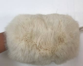 Beautiful warm muff from real soft rabbit fur winter incredible vintage muff unique unisex muff white muff has size - universal.