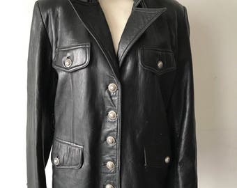 Black leather jacket woman size medium .