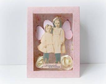 vintage embossed frame romantic fairies