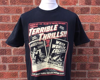 Rocky Horror inspired - rocky horror picture show - Terrible Thrills!! A science fiction double feature 50's vintage style horror t shirt