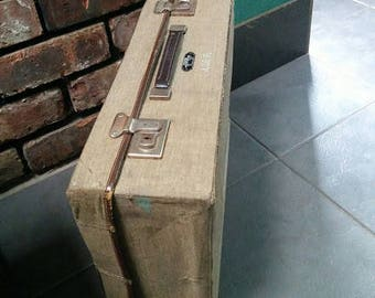 1950 's  The Stoawa  Stowed away' Vintage Folding Canvas Suitcase