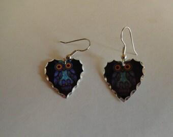 Vintage Owl Pierced Earrings Never Worn