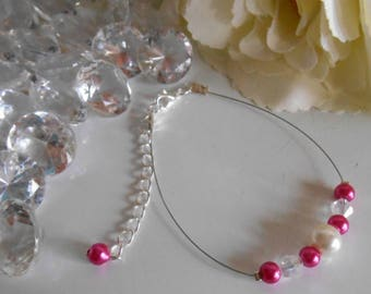 "Bracelet ""collection harmony"" fuchsia and ivory"