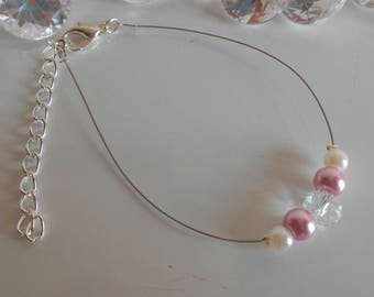 Wedding rhinestone bracelet and white and old pink pearls
