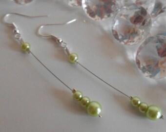 Pearl dangle wedding earrings Pearl green anise