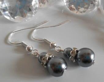 Rhinestone wedding earrings and beads anthracite grey