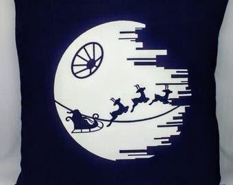 Death Star Christmas Pillow Cover - 12x12 - Star Wars Christmas - Santa - OOAK - Ready to Ship