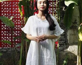 Linen frill shirt dress (white)