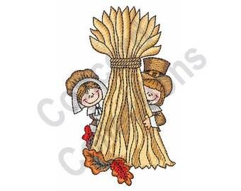 Pilgrims - Machine Embroidery Design, Thanksgiving, Wheat, Harvest