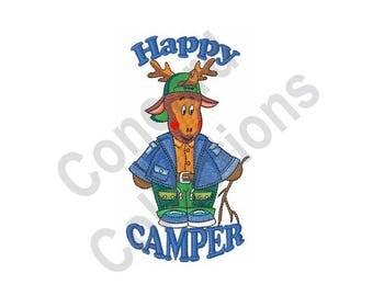 Happy Camper - Machine Embroidery Design, Camper, Camping