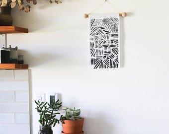 Wall Hanging - Line Patterns / Modern Wall Hanging / Modern Home Decor / Nursery Decor / Gifts for Her / Annabelle Taylor Co / Portland OR