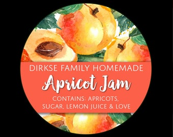 Customized Label - Apricot Jam, Jelly, Preserves, Watercolor Style Canning Jar Label - Wide Mouth & Regular Mouth - Watercolor Apricot