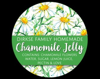 Customized Label - Chamomile Jelly and Tea, Watercolor Style Canning Jar Label - Wide Mouth & Regular Mouth - Watercolor Chamomile