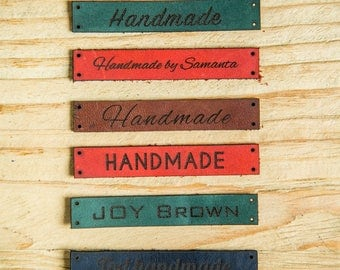 custom clothing labels Custom Leather Labels Personalized Knitting Labels leather labels Leather Tags for Knitting handmade leather labels