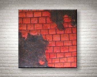 Original Abstract Painting | Red Wall 80x80 cm | Acry on canvas