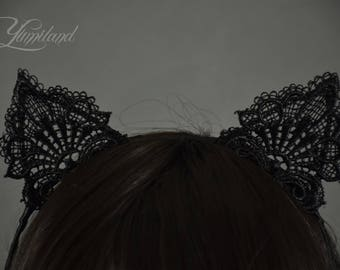 Black lace kitty ears on a headband | cosplay cat ears | lolita ears | anime ears