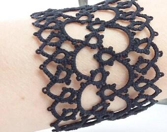 Black lace bracelet. Handmade tatting lace cuff bracelet. Cotton. Goth jewellery. Edwardian. Elegant wristband. Frivolite. Gift for her.