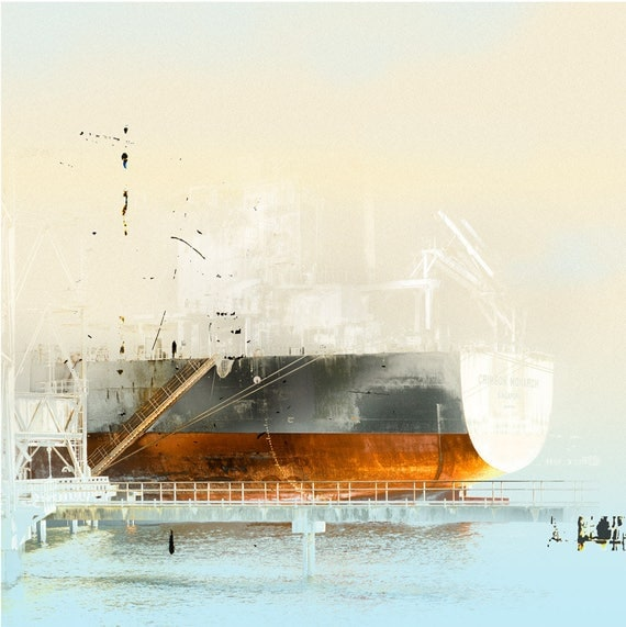 The Crimson Monarch, summer print sale, ship, harbor, industrial, markmaking, abstract landscape, waterscape, port, seascape, boat