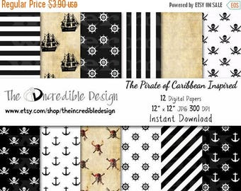 50% OFF SALE Pirate Inspired digital paper pack for scrapbooking, Making Cards, Tags and Invitations, Instant Download