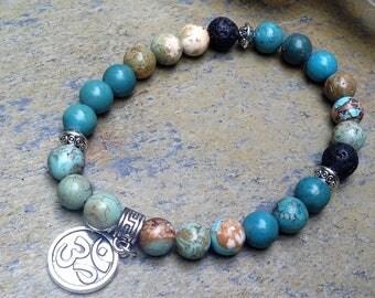 Inner Peace Heart Chakra Green Sea Sediment Jasper Gemstones and Essential Oils Diffusing Lava beads stretch Bracelet