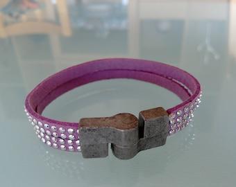 Bracelet leather double strand purple/pink rhinestone, handmade