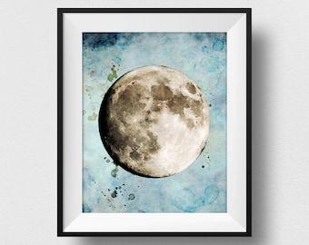 The Moon Poster, The Moon Art, The Moon Print, Watercolour Moon, Kids Bedroom, Home Decor, The Moon Wall Art, Nursery Art (N324)