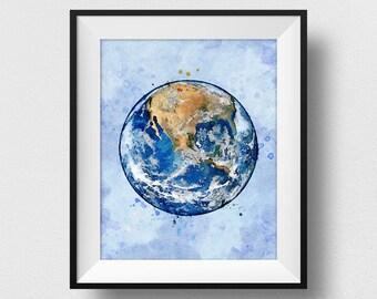 The Earth Print, The Earth Poster, The Earth Wall Art, Kids Room Wall Decor, Nursery Print, Home Decor (N323)