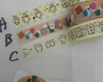 NEW Japanese Kanahei Washi Tapes 3 full roll collection - perfect for weekly planner