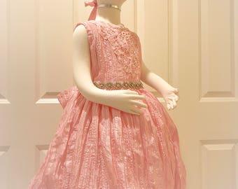 Couture Pink Dress - girls dress, flower girl dress, birthday dress, first birthday, weddings, tea party dress, princess dress
