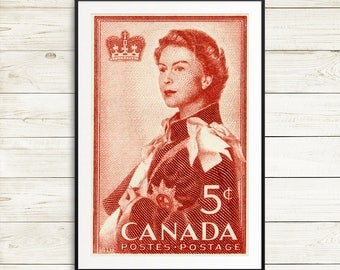 P004 HRM Queen Elizabeth, Queen Elizabeth 2, Elizabeth II, Canadian stamps, Canada Stamps, large red poster, royal portrait, royal visit