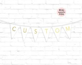 CUSTOM Flag Banner | Metallic Foil Lettering Banner | White and Gold Banner | Custom Event Banner | Read description below for how to order!