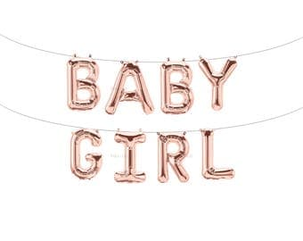 BABY GIRL Rose Gold Letter Balloons | Metallic Letter Balloons | Rose Gold Party Decorations