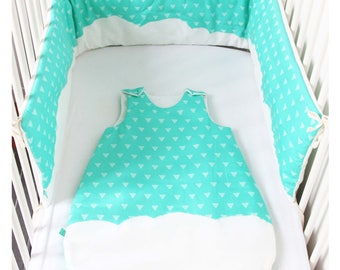 Baby sleeping bag and valance - Cloud and Triangles fabric