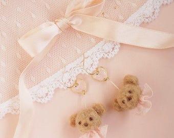 Teddy bear and sparkling heart earrings