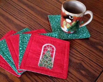 Quilted Reversible Christmas Coasters