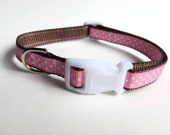 Brown & Pink Polka Dot Dog Collar - Small