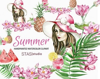 Summer Planner Girl Clipart, Watercolor Clip Art Girl Set Watercolor Watermelon Pineapple Floral Clipart, Pink Clipart Fashion Illustrations