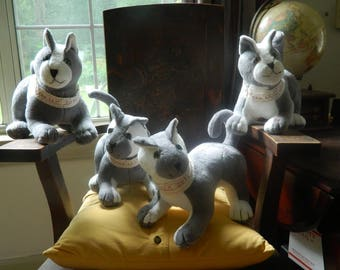 Soft, Plush, Grey and White cats!  Just finished, ready for loving homes!
