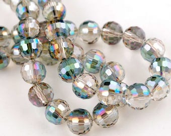 5 BEADS 96 FACETED CRYSTAL 10 MM.