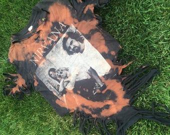 Nirvana reworked and vintage shredded short sleeve band tshirt