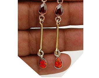 """Three Tone-Red Fire Opal 925 Sterling Silver Earrings 2 1/2"""" Long with 14 Karat Gold Filled Ear Wires"""